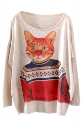 Beige Cool Womens Cat Model Pattern Oversized Pullover Sweater