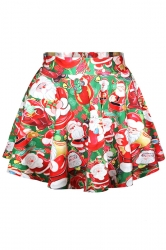 Red Ugly Santa Printed Cute Ladies Christmas Pleated Skirt