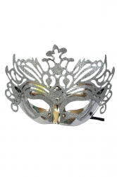 Silvery Halloween Glitter Covered Half Face Mask