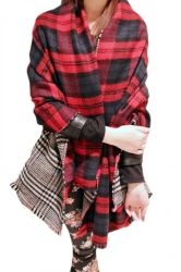 Red Trendy Womens Warm Winter Thicken Plaid Scarf