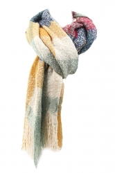 White Trendy Womens Fringe Assorted Colors Plaid Scarf