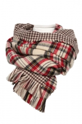 Beige White Trendy Womens Fringe Houndstooth Pattern Plaid Scarf