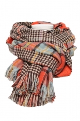 Orange Trendy Womens Fringe Houndstooth Pattern Plaid Scarf