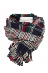 Navy Blue Trendy Womens Fringe Houndstooth Pattern Plaid Scarf