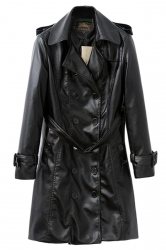 Black Cool Womens Long Sleeve Turndown Collar Jacket