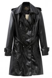 Black Cool Womens Long Sleeve Turndown Collar Jacket
