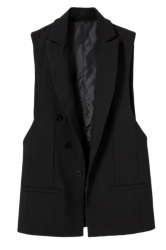 Black Fashion Ladies Double-breasted Sleeveless Vest