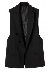 Black Fashion Ladies Double-breasted Sleeveless Vest