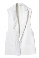 White Fashion Ladies Double-breasted Sleeveless Vest