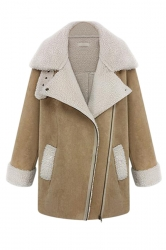 Khaki Modern Womens Turndown Collar Fur Warm Over Coat
