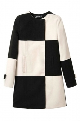 Black and White Sexy Ladies Plaid Color Block Tweed Coat