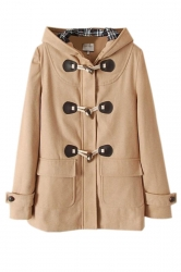 Khaki Cool Ladies Plain Hooded Duffel Toggle Coat