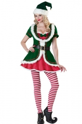 Green Cute Womens Fairy Christmas Santa Helper Costume