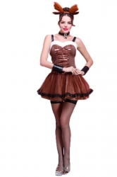 Coffee Retro Ladies Strap Pleated Christmas Reindeer Costume
