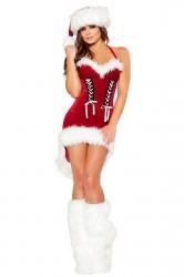 Chic Ladies Halter Pleuche High Low Dress Christmas Santa Costume