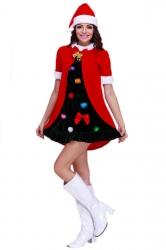 Red Cute Ladies Christmas Tree Colorful Dress Santa Costume
