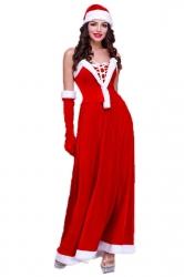 Red Elegant Womens Tube Strapless Christmas Santa Costume