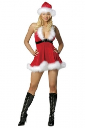 Womens Modern Low Cut Fur Christmas Santa Costume Red