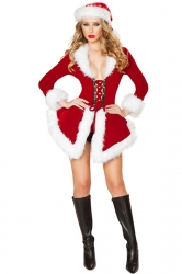 Red Pretty Ladies Lace Up Christmas Hat Long Sleeve Santa Costume