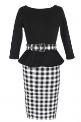 Black Vintage Slim Womens Plaid Patchwork Peplum Dress