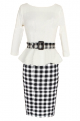 White Vintage Slim Womens Plaid Patchwork Peplum Dress