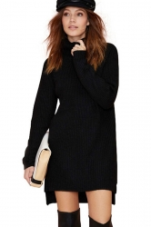 Black Charming Ladies High Low Warm Winter Sweater Dress