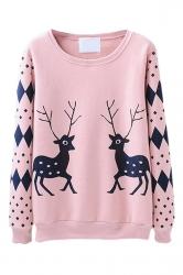 Crew Neck Pullover Reindeer Argyle Print Christmas Sweatshirt