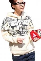 Beige Pullover Snowflake Reindeer Ugly Christmas Printed Hoody