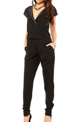 Black V Neck Womens Elegant PU Leather Patchwork Jumpsuit