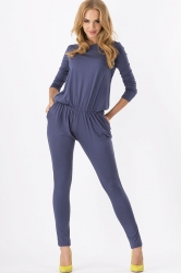 Blue Long Sleeves Casual Womens Plain Slim Jumpsuit
