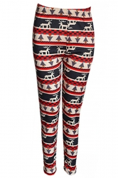 Red Pretty Ladies Reindeer Christmas Lined Sweater Leggings