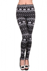 Black Ladies Snowflake Christmas Lined Warm Sweater Leggings