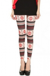 Pink Ladies Snowflake Printed Slim Qmilch Sweater Leggings