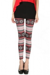 Pink Cute Ladies Snowflake Printed Qmilch Sweater Leggings