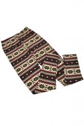 Khaki Womens Christmas Warm Snowflake Printed Sweater Leggings