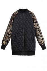Black Modern Ladies Sequin Sleeve Embroidery Quilted Jacket