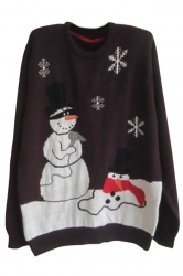 Coffee Womens Crew Neck Pullover Snowman Ugly Christmas Sweater