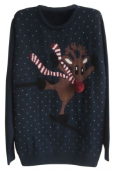 Navy Blue Crew Neck Pullover Ski Reindeer Ugly Christmas Sweater