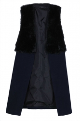 Black Trendy Womens Warm Winter Patchwork Faux Fur Long Vest
