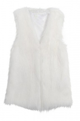 White Trendy Womens Warm Winter Faux Fur Vest