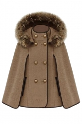 Khaki Ladies Cute Warm Winter Tweed Poncho Hooded Pea Coat