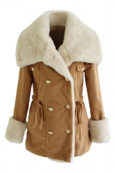 Khaki Ladies Turndown Collar Faux Fur Pea Quilted Over Wool Coat