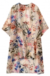 Pink Pretty Womens Retro Floral Printed Oversized Kimono