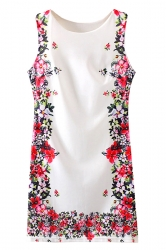 White Elegant Ladies Flowers Printed Sleeveless Smock Dress