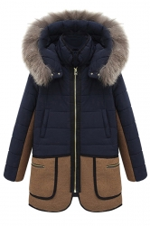Navy Blue Trendy Ladies Fur Hooded Patchwork Parka Coat