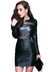 Black Womens Crew Neck Mesh Patchwork Long Sleeve Leather Dress