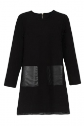 Black Pretty Ladies Long Sleeve Leather Patchwork Shift Dress