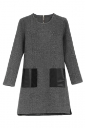 Gray Pretty Ladies Long Sleeve Leather Patchwork Shift Dress