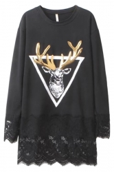 Black Ladies Reindeer Printed Sequined Lace Patchwork Shift Dress