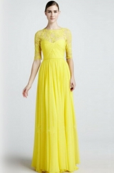 Yellow Lace Patchwork Sexy Ladies Pleated Fancy Evening Dress